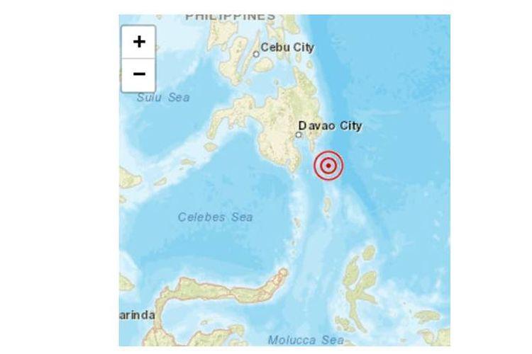 Gempa bermagnitudo 6,9 guncang wilayah Mindanao, Sulawesi Utara pada Sabtu (29/12/2018).
