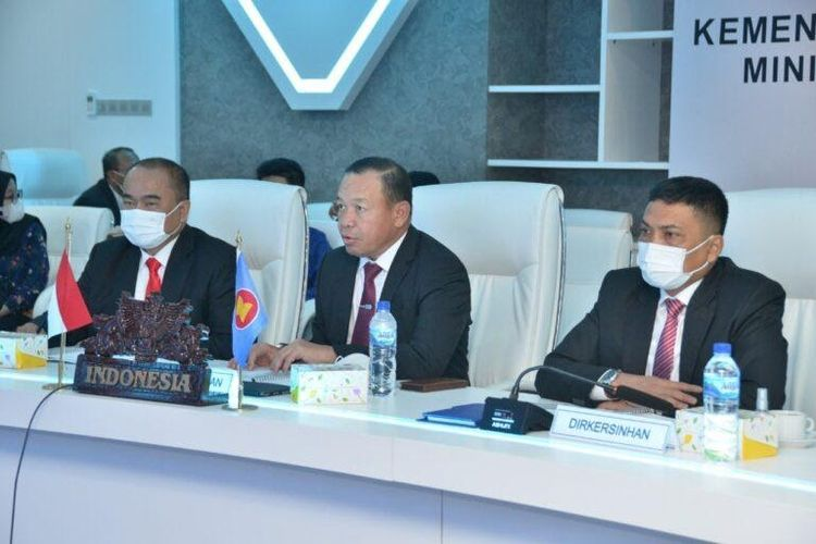 ASEAN Regional Forum Security Policy Conference yang digelar secara virtual di Kantor Kemhan, Jakarta, Kamis (3/6/2021).