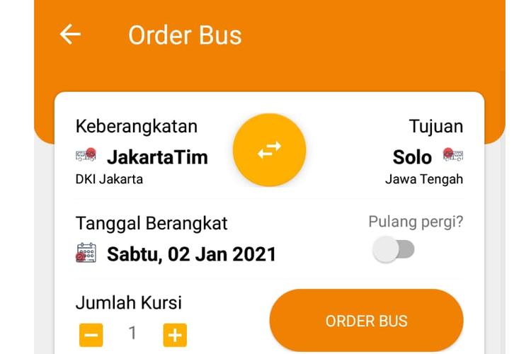 Tampilan menu order bus di aplikasi Jaketbus