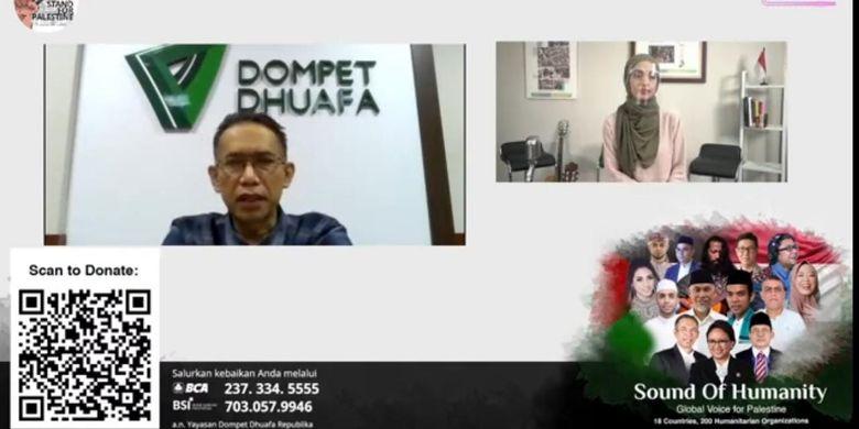 Dompet Dhuafa gelar event online Sound of Humanity, Global Voice for Palestine pada Rabu (19/5/2021). Gelaran yang dihadiri tokoh lintas latar belakang sosial tersebut sebagai bentuk respon atas tragedi kemanusiaan di Palestina.