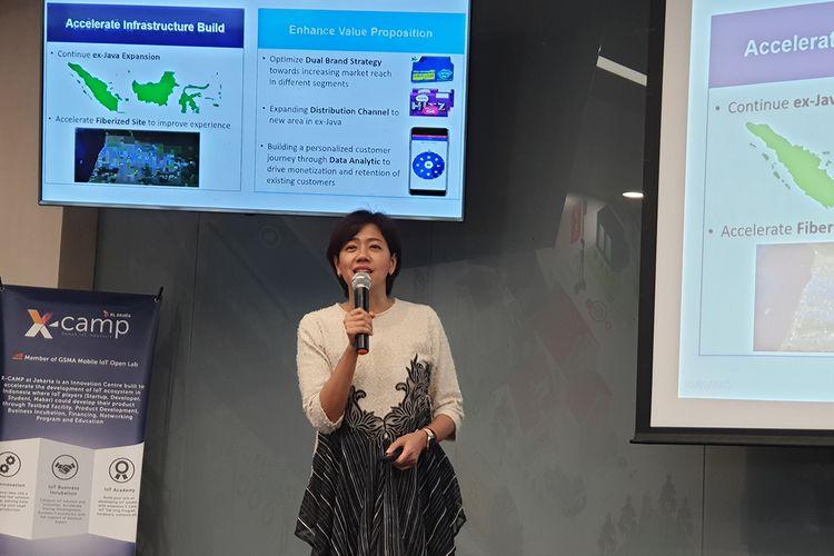 Yessie Yosetya, Direktur Teknologi XL Axiata, ketika memaparkan ekspansi jaringan XL pada 2019 di Jakarta, Kamis (5/9/2019).