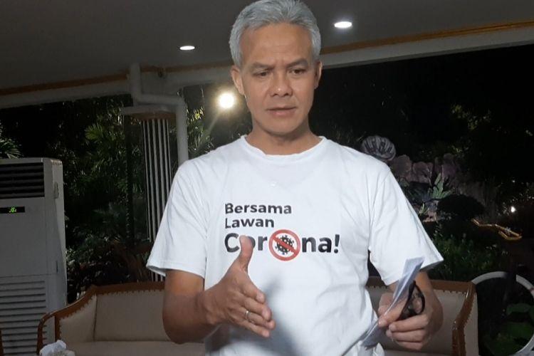 Gubernur Jawa Tengah Ganjar Pranowo saat ditemui di rumah dinasnya Puri Gedeh Semarang, Rabu (18/3/2020) malam.