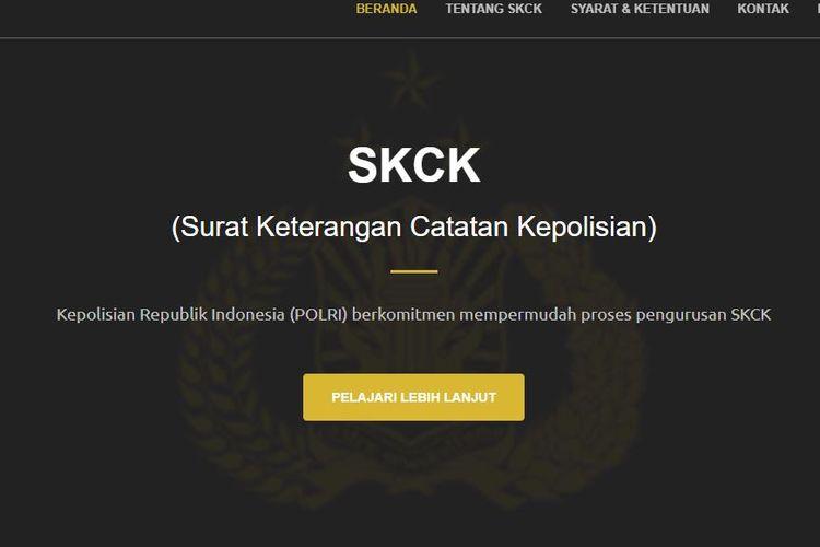 Bidik layar laman pembuatan SKCK online di https://skck.polri.go.id/