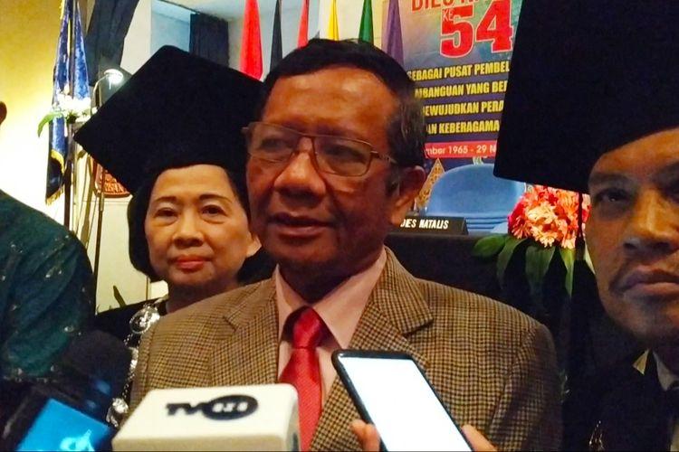 Menko-Polhukam Mahfud MD di Auditorium Universitas Trisakti, Jakarta Barat, Jumat (29/11/2019).