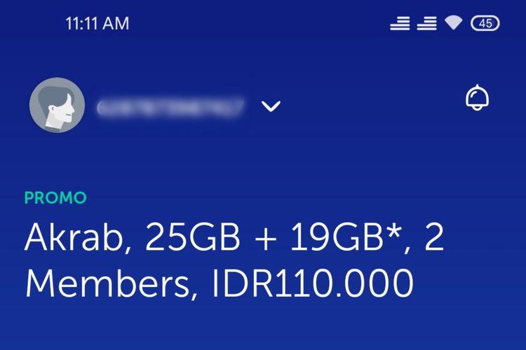 Ilustrasi nomor ponsel XL di aplikasi myXL.