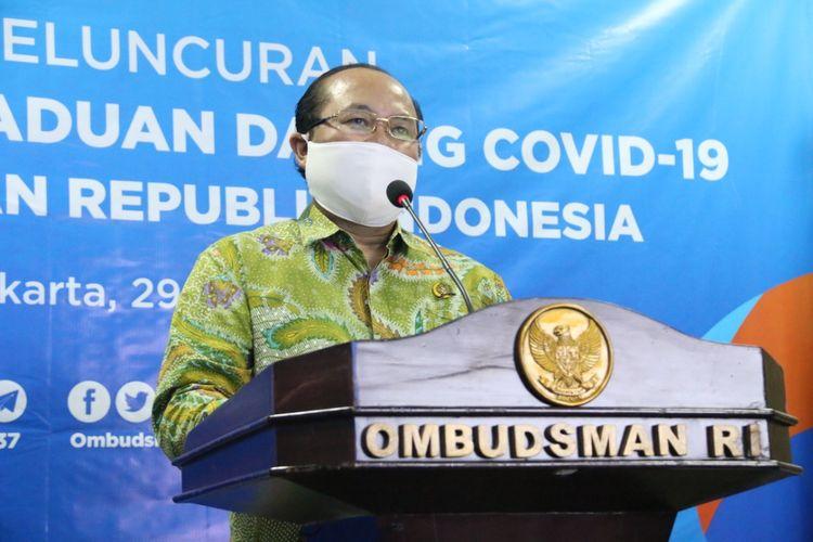 Ketua Ombudsman RI Amzulian Rifai dalam konferensi pers di Gedung Ombudsman RI, Rabu (29/4/2020).