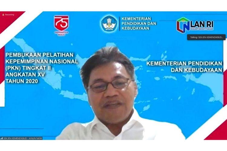 Sekretaris Jenderal (Sesjen) Kemendikbud Ainun Naim dalam Bincang Sore Kemendikbud secara virtual di Jakarta, pada Selasa (28/07/2020). (DOK. KEMENDIKBUD)