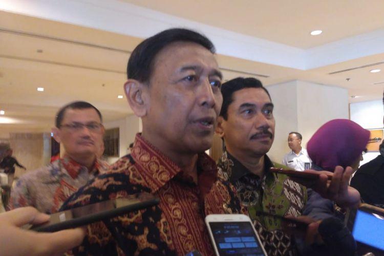 Menteri Koordinator Politik, Hukum, dan Keamanan Wiranto di Hotel Borobudur, Jakarta Pusat, Kamis (27/12/2018).