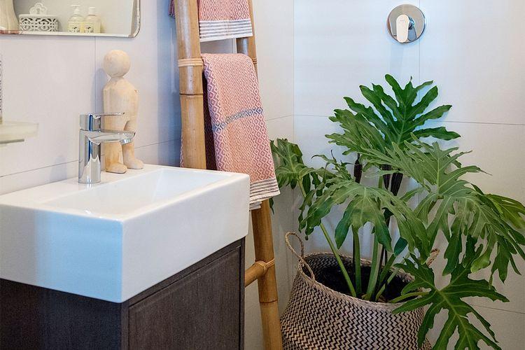 Tanaman hijau samping wastafel di kamar mandi karya Lana Kenney apartmenttheraphy.com