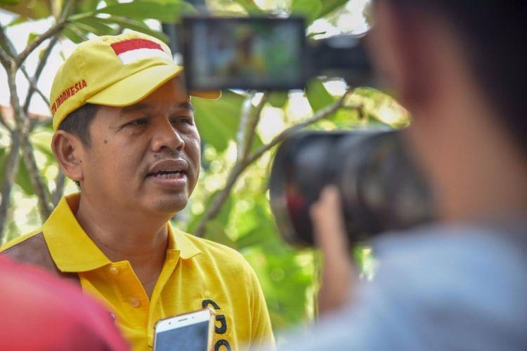 Ketua DPD Golkar Jabar Dedi Mulyadi saat diwawancara terkait bantuan gempa Lombok di Purwakarta, Senin (6/8/2018).
