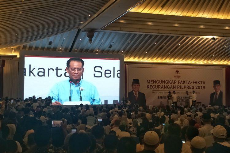 Anggota Dewan Pakar Badan Pemenangan Nasional (BPN) pasangan Prabowo Subianto-Sandiaga Uno, Laode Kamaluddin, saat berbicara dalam acara Mengungkap Fakta-Fakta Kecurangan Pilpres 2019 di Hotel Grand Sahid Jaya, Jakarta Pusat, Selasa (14/5/2019).