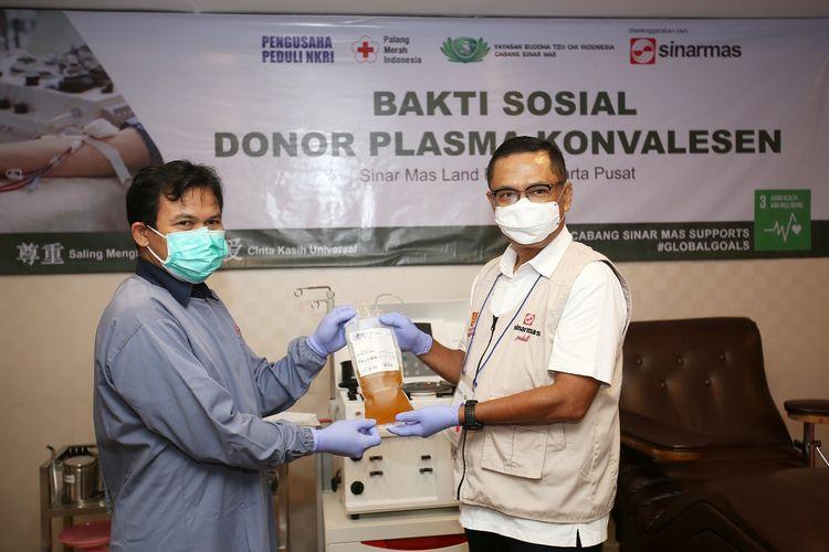 Managing Director Sinar Mas Saleh Husin saat agenda donor plasma konvalesen berlangsung di Sinar Mas Land Plaza, Thamrin, Jakarta Pusat, Kamis (17/6/2021).