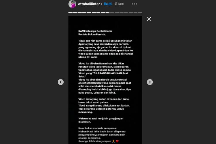 Instagram Story Atta Halilintar, Sabtu (16/11/2019). Atta menjelaskan perihal tudingan penistaan agama yang dialamatkan padanya.