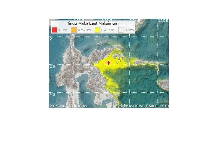 Episentrum dan ketinggian muka air laut gempa Banggai pada Jumat (12/4/2018).