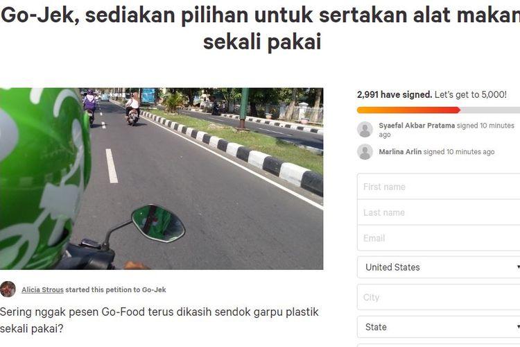Petisi untuk Go-Jek agar bantu mengurangi sampah plastik dari layanan Go-Food.