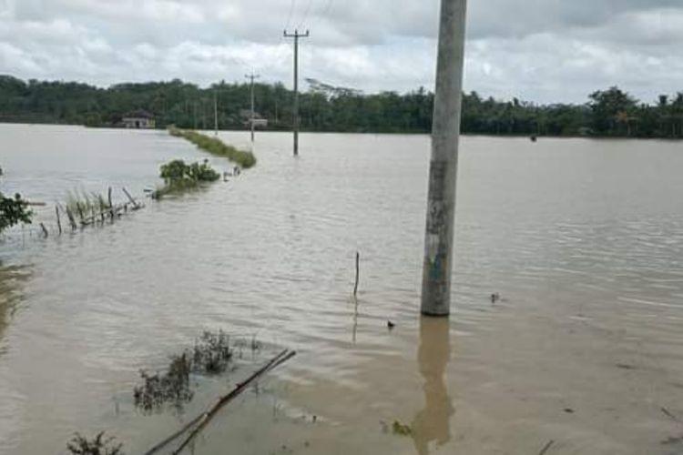 Jalan dan ratusan hektar lahan persawahan yang terendam banjir di Desa Buniasih, Kecamatan Tegalbuleud, Sukabumi, Jawa Barat. Foto diambil Rabu (18/11/2020).