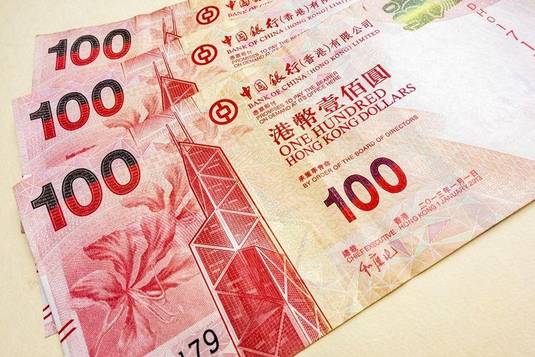 Ilustrasi mata uang dollar Hong Kong.