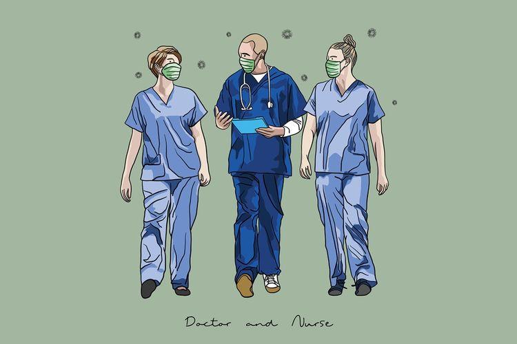Ilustrasi perawat dan dokter