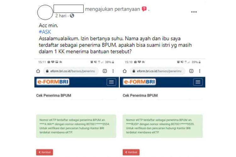 Tangkapan layar unggahan bernarasi pertanyaan mengenai penerima bantuan Banpres Produktif Usaha Mikro (BPUM) ramai di media sosial.