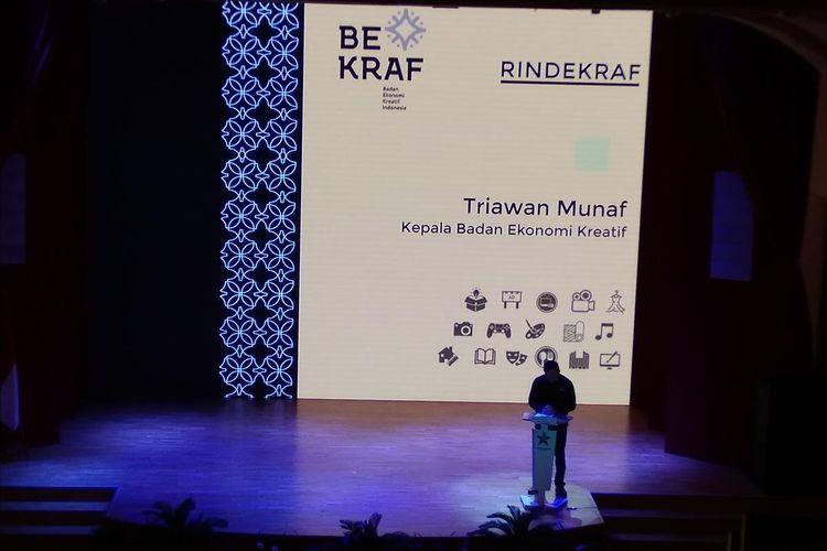 Kepala Bekraf Triawan Munaf dalam sosialisasinya tentang Rencana Induk Pengembangan Ekonomi Kreatif Nasional 2018-2025 di Jakarta, Senin (15/7/2019).