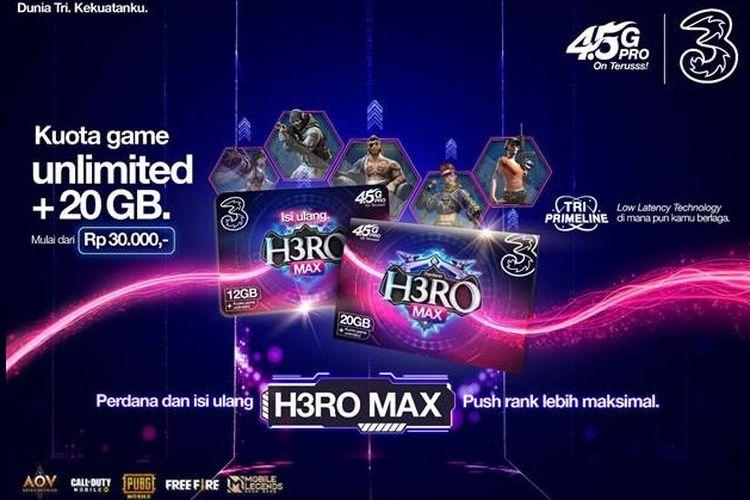 Ilustrasi paket H3RO Max dari Tri.
