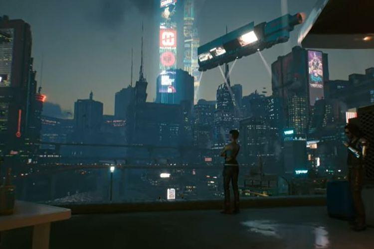 Ilustrasi Night City di Cyberpunk 2077.