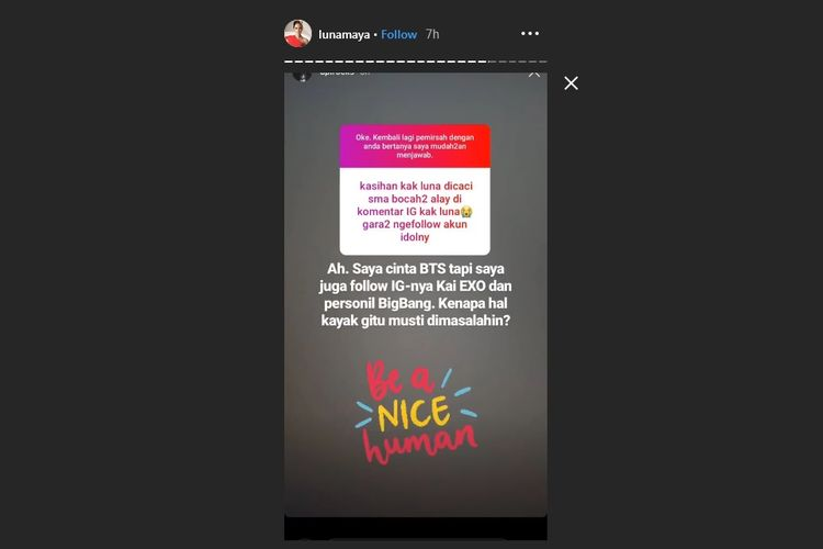 Bidik layar Instagram story Luna Maya.