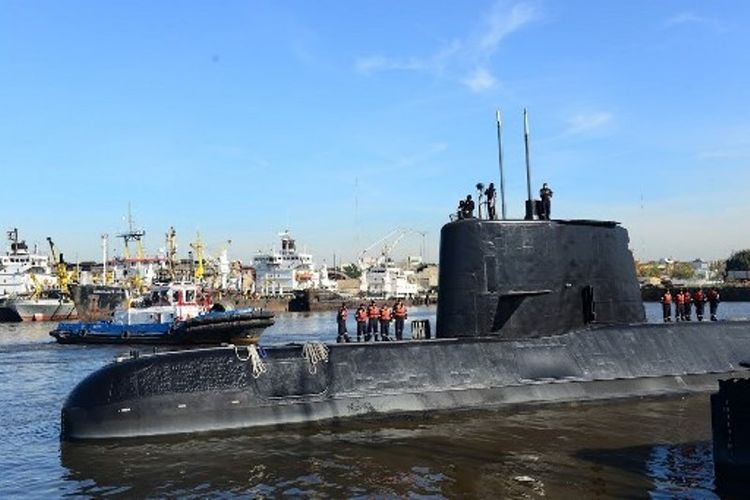 Gambar Kapal Selam Argentina ARA San Juan pada 18 November 2014, di Buenos Aires, Argentina. (AFP/Angkatan Laut Argentina)