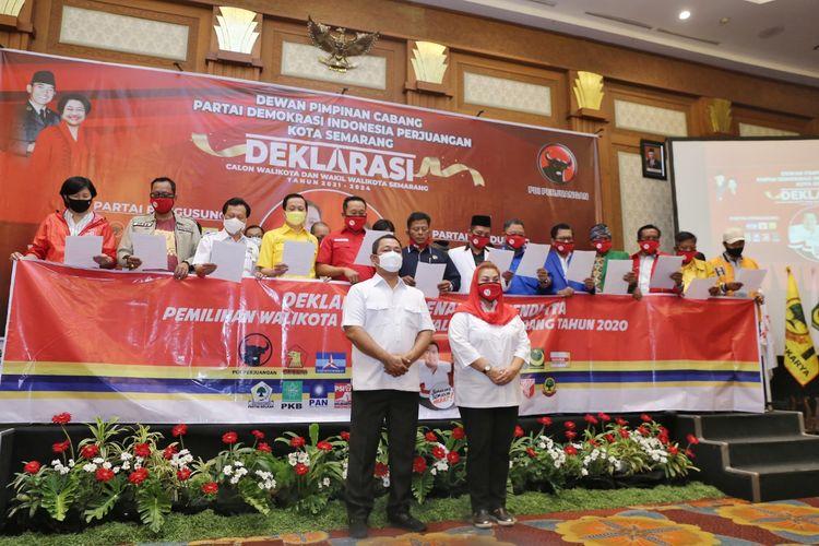 Pasangan petahana Hendrar Prihadi dan Hevearita Gunaryanti Rahayu saat deklarasi dukungan seluruh partai di Hotel Santika Semarang, Selasa (1/9/2020)