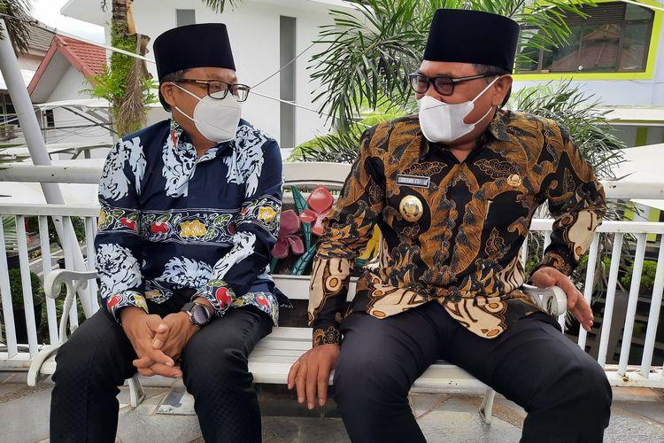 Wali Kota Malang Sutiaji (kiri) dan Wakil Wali Kota Malang Sofyan Edi Jarwoko (kanan) di Balai Kota Malang, Senin (4/10/2021).