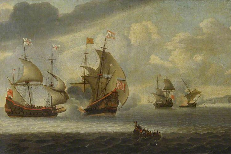 Ilustrasi armada Spanyol dan Inggris pada abad ke-17.