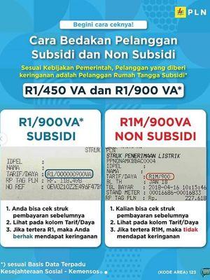 Struk pembayaran PLN 900 VA subsidi dan non subdidi