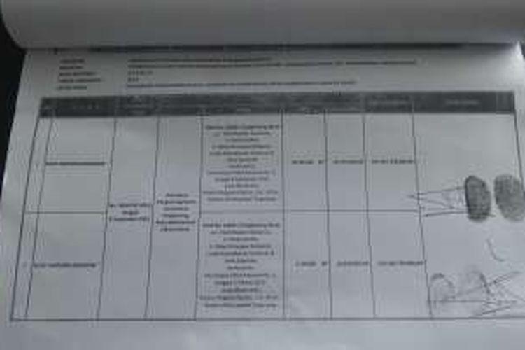Dokumen daftar nominatif pengadaan tanah untuk rusun di Kelurahan Cengkareng Barat yang dimiliki Biro Hukum DKI Jakarta.