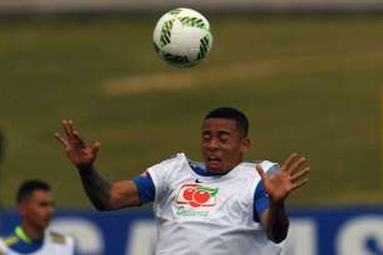 Gabriel Jesus menjalani latihan bersama tim nasional Brasil U-23 di Teresopolis, 19 Juli 2016.