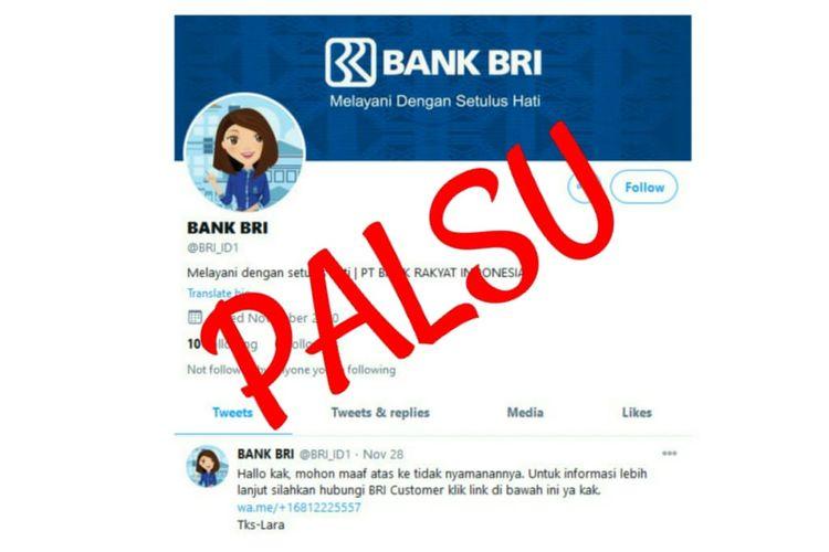 Akun palsu di Twitter mencatut nama Bank BRI.