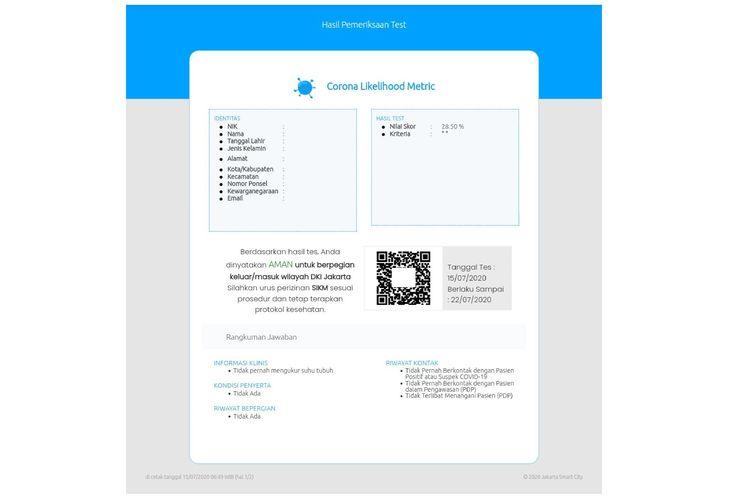 Hasil tes CLM untuk mengajukan SIKM yang dilakukan Kompas.com pada Rabu (15/7/2020).
