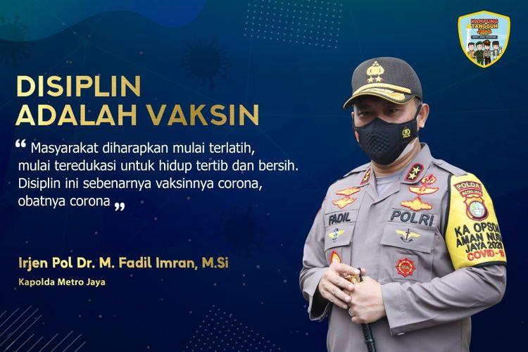 Kapolda Metro Jaya Irjen Pol Dr. Mohammad Fadil Imran, M.Si
