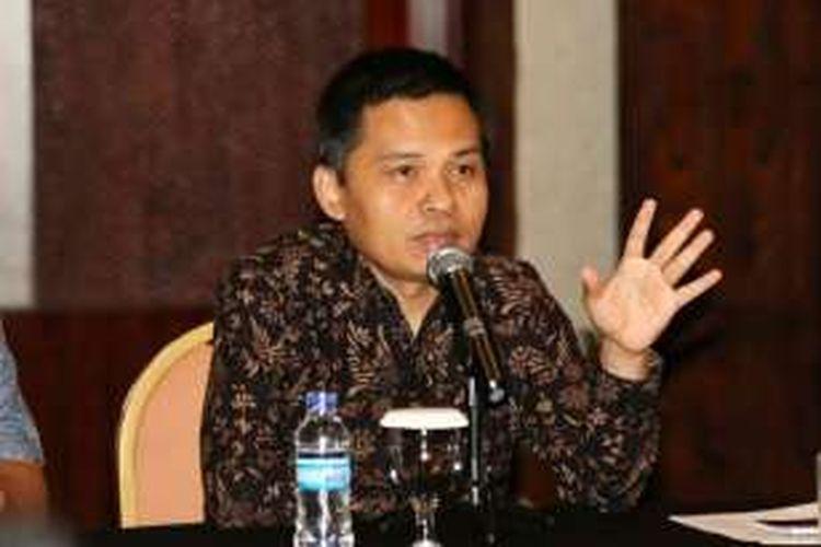 Sekretaris Jenderal MPR Ma'ruf Cahyono memaparkan strategi publikasi MPR kepada wartawan di Pangkal Pinang, Bangka Belitung, Kamis (15/12/2016)