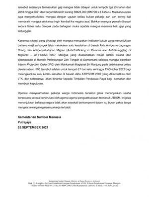 Pernyataan lanjutan Kementerian Sumber Daya Manusia Malaysia tentang kasus TKI yang dianiaya dan tidak digaji selama tiga tahun di Ayer Tawar, Perak, Malaysia.