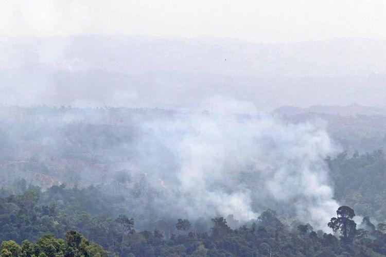 Kepulan asap dari pembakaran hutan untuk membuka lahan perkebunan di dataran tinggi Nisam Antara, Aceh Utara, Aeh, Minggu (30/7/2017). Badan Meteorologi, Klimatologi, dan Geofisika (BMKG) Aceh menyebutkan 49 titik panas terpantau oleh satelit berada di delapan wilayah di Aceh sehingga menyebabkan bencana kabut asap hampir merambah 23 kabupaten/kota di Aceh.