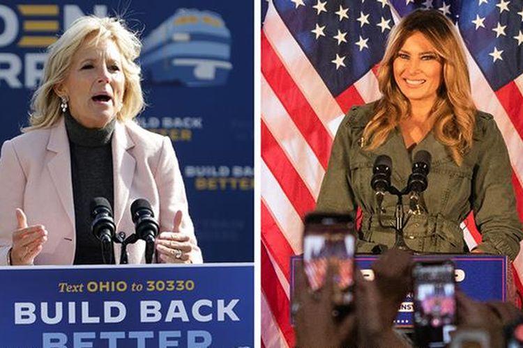 Jill Biden (kiri) dan Melania Trump (kanan).