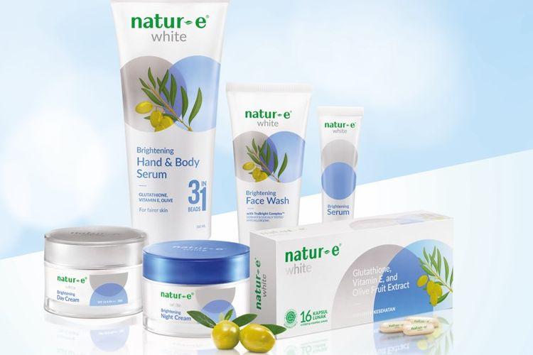Rangkaian produk pencerah kulit Natur-E White Series.