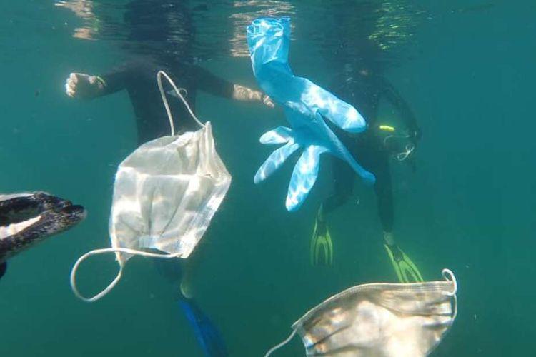 Limbah APD bekas terkait Covid-19 mengapung di lautan. Hal ini bisa menimbulkan masalah lingkungan dan kesehatan sekaligus.