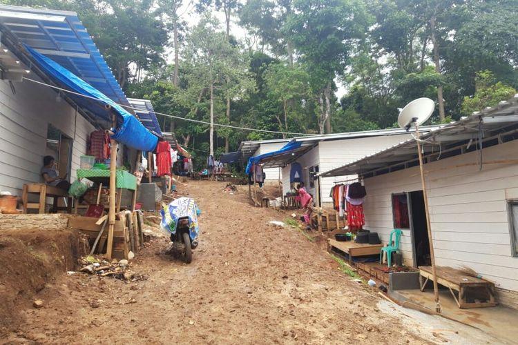 Kondisi huntara di Desa Way Muli Timur Lampung Selatan. Huntara ini kemungkinan akan menjadi tempat tinggal tetap warga korban tsunami Selat Sunda