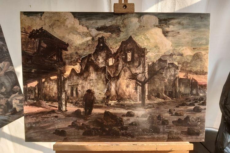 Salah satu lukisan di stand Museum Seni Rupa dan Keramik yang dapat di scan dengan aplikasi Siji. Lukisan ini menceritakan tentang perang gerilya (Seiko) pada tahun 1944 yang dilukis oleh Sudjojono tahun 1968.