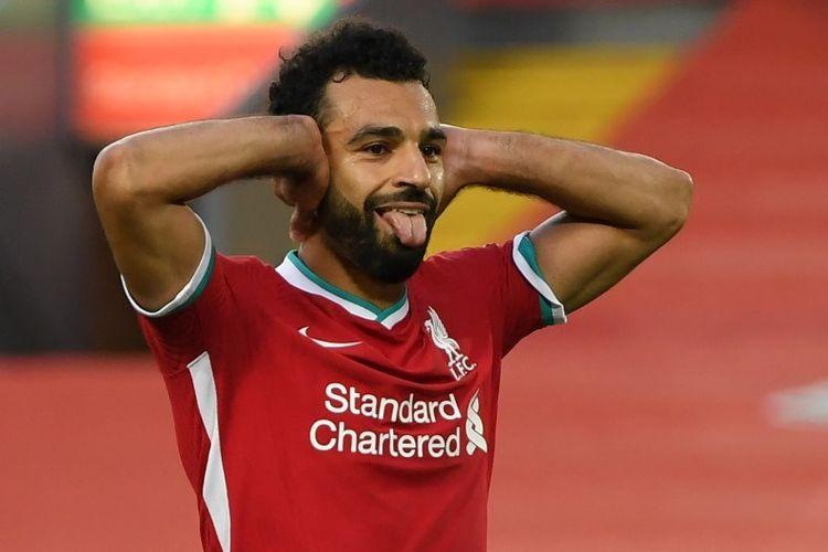 Perayaan gol Mohamed Salah setelah mencatatkan hat-trick pada laga Liverpool kontra Leeds, Sabtu (12/9/2020).