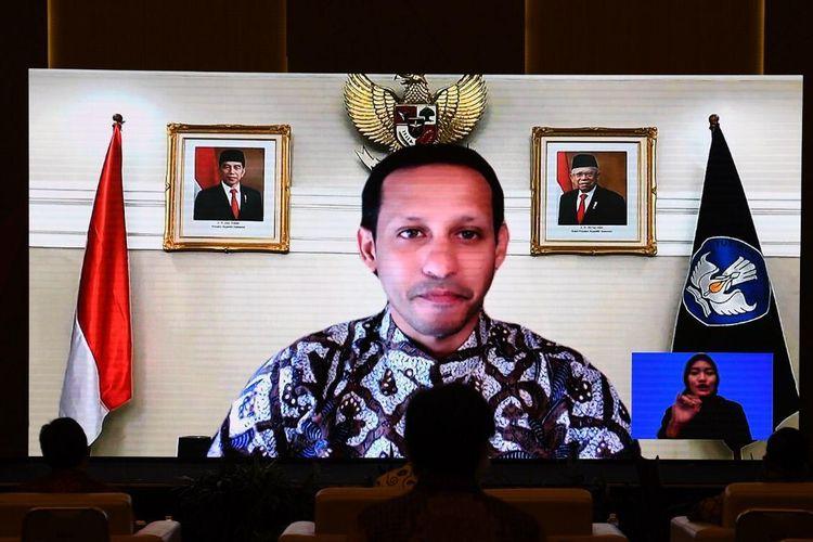 Mendikbud Nadiem Makarim dalam acara penutupan (Festival dan Lomba Seni Siswa Nasional) FLS2N 2020, Sabtu, 3 Oktober 2020 di Bandung, Jawa Barat.