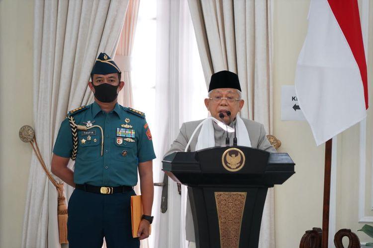 Wakil Presiden Maruf Amin saat memberikan sambutan dalam silaturahmi dengan sejumlah organisasi Islam di Istana Wakil Presiden, Jakarta, Jumat (18/7/2020).