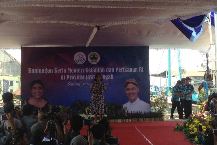 Menteri Kelautan dan Perikanan Susi Pudjiastuti di Semarang, Rabu (20/9/2017).