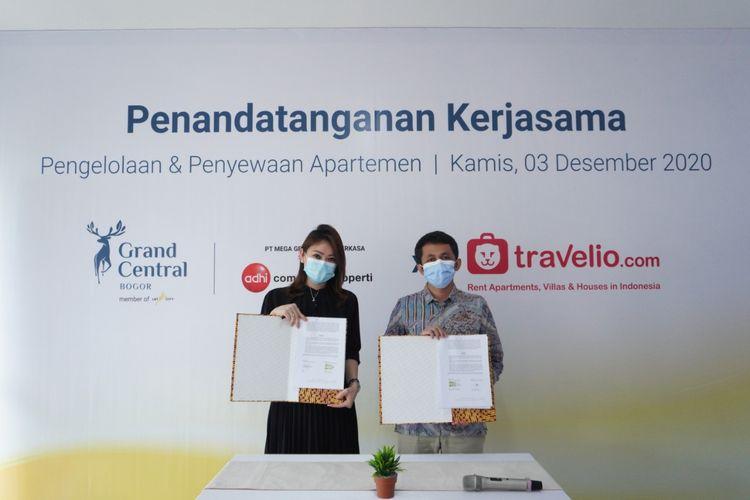 Grand Central Bogor menandatangani kesepakatan kerja sama dengan Travelio, Kamis (03/12/2020).